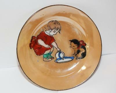 Rare Vintage Japan Lusterware Child's Plate /  Hand Painted Child And Cat