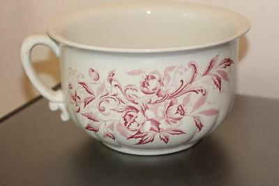 Antique Richelieu England Red Floral Transferware Commode Chamber Pot