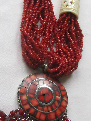 Dntique/MINT AA coral bead/20rows/cowhorn/ round silverbase coral mosaic/28 ins/