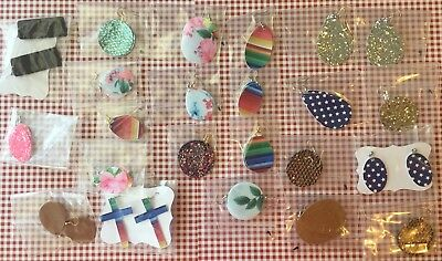 Bulk/Wholesale Lot of faux leather, Leather And Glitter Earrings. 23 pairs.