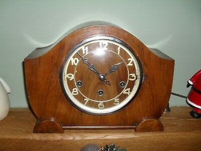 Antique English Art Deco Style 8 Day Duration Westminster Chime Mantel Clock