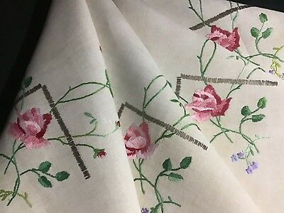 Gorgeous Vintage Irish Linen Hand Embroidered Tablecloth ~ Rambling Roses