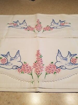 Vintage Embroidered Pair Of Bluebird Cotton Blend Pillowcases