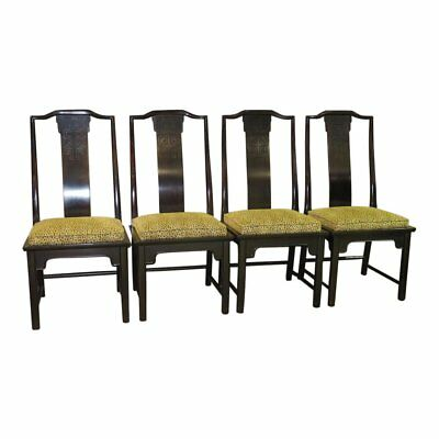 Set of Four Vintage Asian Style Side Chairs w/Animal Print Fabric