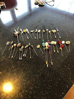 Lot  Of 33 Vintage Victorian Hatpins Glass Long and Short