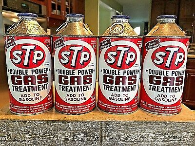 Vintage Lot Of 4-12 Oz Stp Double Power Gas Treatment Cans W/pull Cone Top 1971