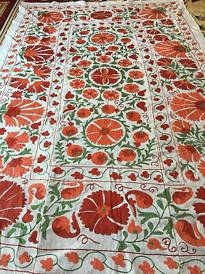 Vintage Uzbek Large Beautiful Tablecloth Handmade Wall Decor Embroidery Suzani