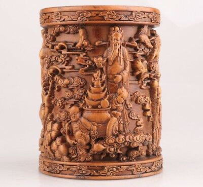 Precious Chinese Boxwood Penholder Pot Hand-Carve Mascot God Of Wealth Decorate
