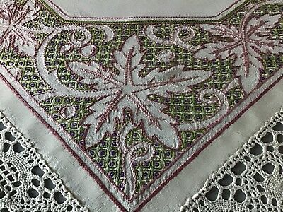 Stunning Vintage Linen Hand Embroidered Tablecloth ~ Grapevine/deep Lace