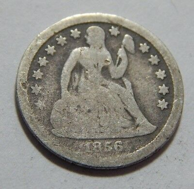 1856 US Silver Seated Liberty Dime Coin - Small Date Variety