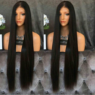 """AU 24"""" GlueLess Lace Front Wig Synthetic Hair Silky Straight Off Black Full Head"""