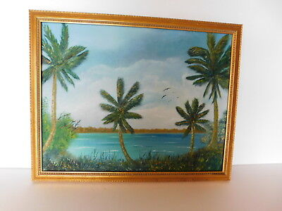 "Highwaymen Style Painting - Palm Trees Painting - Tropical Oil Painting 14""x 18"""