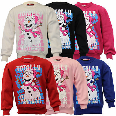 girls christmas sweatshirt kids OLAF FROZEN xmas totally chilled snowman winter