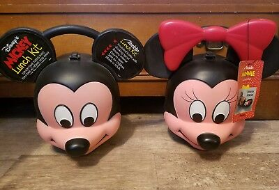 Disney Mickey and Minnie Mouse Vintage 3D Head Lunch Box with Thermos by Aladdin
