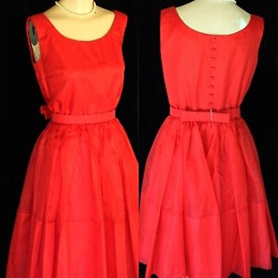 Vintage 1950 1960's Red Organza Christmas Holiday Formal Rockabilly Party Dress