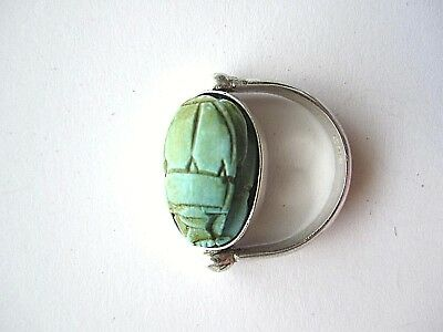 Vintage Scarab And Sterling Silver Swivel Or Flip Ring Size 5