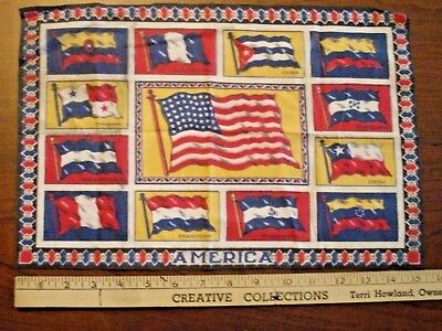 Large Vintage Tobacco Felt American Flag with Other Border Flags
