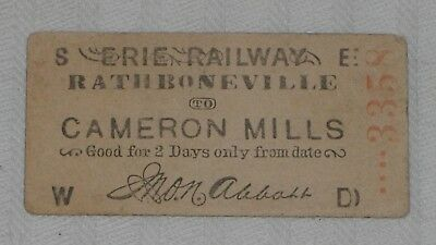 ***early 1880's Erie Railway 2-Day Trip Ticket***