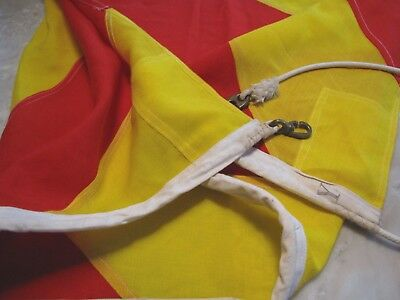 """Vintage Nautical Maritime Red Yellow Striped Linen Flag Y Stamp 48x65"""" Grommets"""