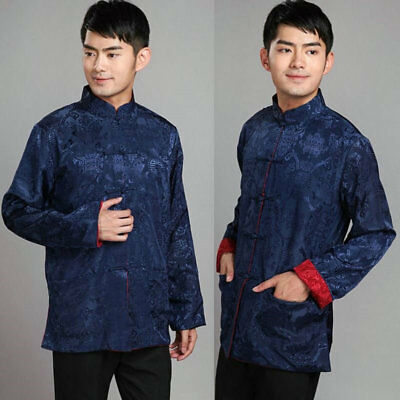 Men Traditional Chinese Clothes Tang Suit Tops Two Side Coat Jacket Print Outfit