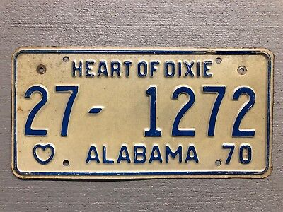 Vintage 1970 Alabama License Plate Heart Of Dixie White/blue 27-1272