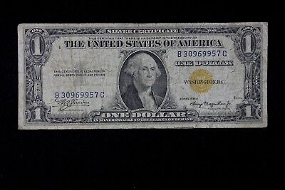 $1 1935A North Africa Yellow Seal Silver Certificate B30969957C one $, FREE SHIP