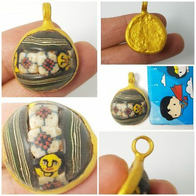 Fantastic  old mosaic glass  Goldwater's gilded metal case pendant
