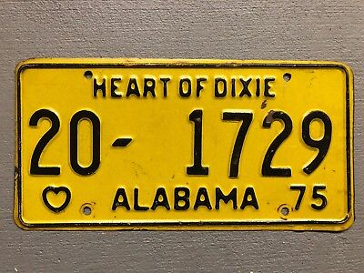 Vintage 1975 Alabama License Plate Heart Of Dixie Yellow/black 20-1729