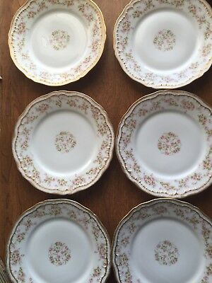 Theodore Haviland Limoges Schleiger 6 Salad Plates Pink Rose Double Gold 7 1/2""