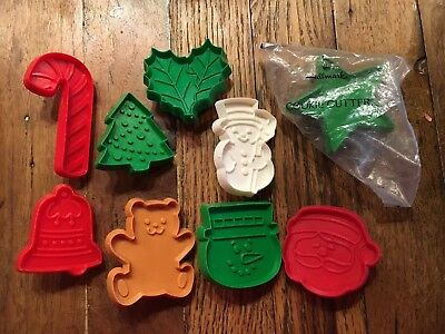 Nine Mini Hallmark Christmas Themed Plastic Cookie Cutters