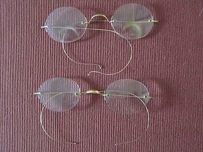 Two Pair of Antique, Rimless, Gold-frame Eyeglasses - One Pair Bifocal