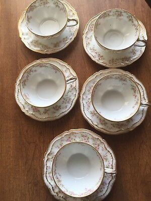 Theodore Haviland Limoges Schleiger 5 Sets Cups & Saucers Pink Rose Double Gold