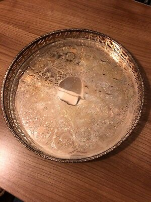 vintage ornate silver plated tray by Viners