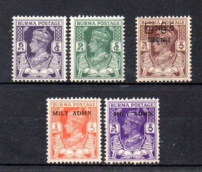 small collection of 5 mint GVI stamps from burma
