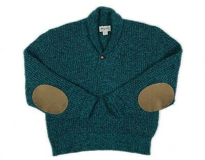 Vtg American Eagle Wool Shawl Collar Elbow Patch Turquoise Sweater Mens L