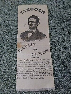Rare 1860 Abraham Lincoln Campaign Ribbon  From The Friends Of Lincoln Campaign