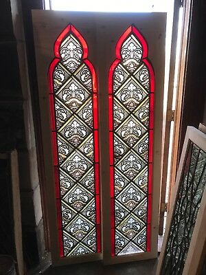 Sg 2678 Match Pair Antique Gothic Arch Painted In Fired Windows 18 3/8 X74