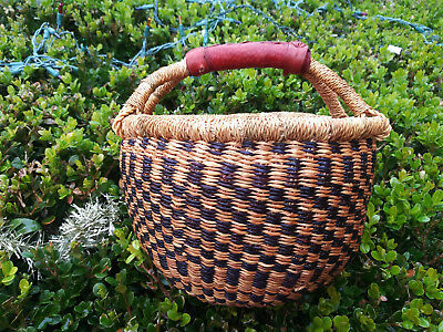 CLEARANCE ~ Small AUTHENTHIC Handmade Ghana BOLGA Market Basket Leather Handle