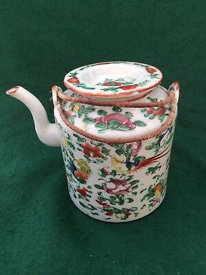 Antique Chinese polychrome tea pot (6 inches)