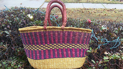 CLEARANCE SALE ! Large Handmade Oval Ghana BOLGA Market Basket w/ Leather Handle