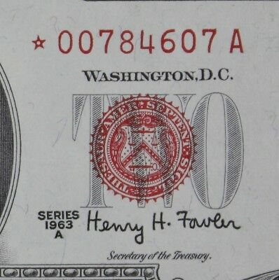 $2 1963A Star GEM CU red seal US Note *00784607A ERROR series A, two $ FREE SHIP