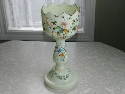 """Vtg Yellow Custard Glass Hp Floral Glass Luster No Prisms 14 1/2"""" Tall Mantle"""