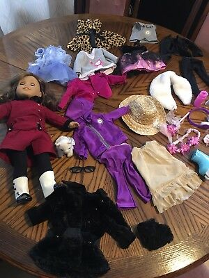 """Rebecca Rubin 18"""" American Girl Doll Lot with Cat, Clothes, Accessories"""