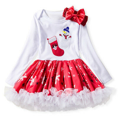 Infant Kids Baby Girls Christmas Romper Bodysuit Tutu Lace Dress Outfit Clothes