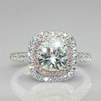 Certified 3.12ct White Pink Round Moissanite Halo Engagement Ring 14K White Gold