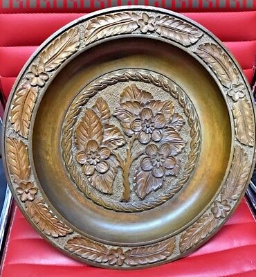 antique carved black forest exquisite wooden bowl / wall hanging decoration 16in