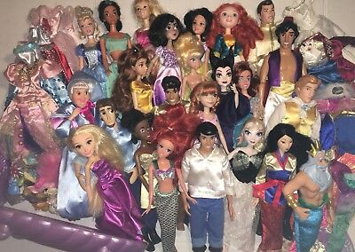 HUGE Disney Princess Barbie Doll Lot With Princes, Ariels Shell Bed & More!