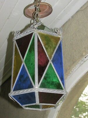 Vintage Stained Glass Light Pendant Hanging Church Gothic for Restoration