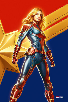 "Captain Marvel Poster 48x32"" 40x27"" Comic Con 2018 Brie Larson Movie Print Silk"