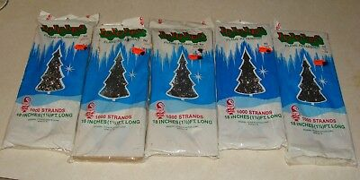 "5 Boxes Vintage Icicles Tinsel Christmas Tree 1000 Strands 18"" General Foam Plas"